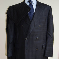 Mens Suit / Hart Schaffner Marx / Navy Blue Wool Windowpane / Double Breasted / 46XL X 39W / Pleated Cuffed