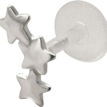 Star Burst 925 Sterling Silver Bioplastic Tragus Cartilage Earring or Lip Ring