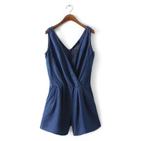 Women sexy v-neck sleeveless denim jumpsuits false pockets design ladies rompers casual streetwear brand playsuits KZ750