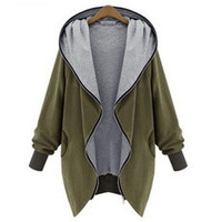 Women Fashion Cotton Warm Loose Hoodie Zipper Sweatshirts Casual Cardigan Coat Hot Sale Plus Size S-5XL [8384273607]