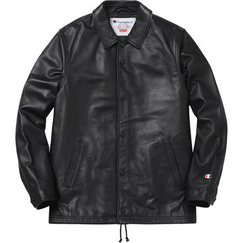 Supreme: Supreme/Champion® Leather Coaches Jacket - Black