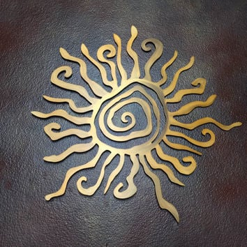 Sun Metal Wall Art - Tribal Sun - Sun Art - Metal Art - Spiral Sun - Healing Sun - Bronze Sun - Brown Art - Metal Sun - Silver Sun