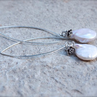 Large baroque pearl statement earrings Big coin pearl 925 silver marquis earrings Huge white pearl dangle earring Long pearl bridal earrings