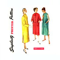 1950s Coat Pattern Bust 32 Simplicity 1470 Lined Clutch, Button Front Coat, Sleeveless Duster Mandarin Collar Womens Vintage Sewing Pattern