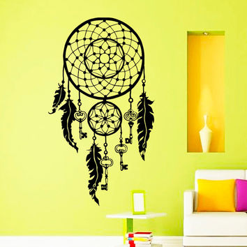 Dream Catcher Wall Decals Indian Amulet Keys Lotus Feathers Home Interior Vinyl Decal Sticker Dorm Decal Mural Bedroom Wall Decor MR397