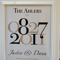 "Wedding Date Family Name Print with Wedding Location/Numbers - Custom Wedding Gift - 8""x10"""