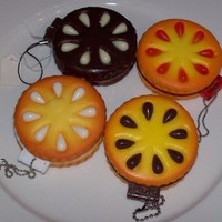 Cookie Biscuit Squishy Creme/Jam Compact Mirror Charm Pendant