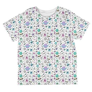 Outer Space Aliens Pattern All Over Toddler T Shirt