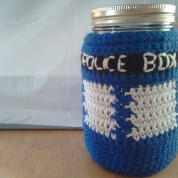 Dr Who Tardis Mason Jar Cozy