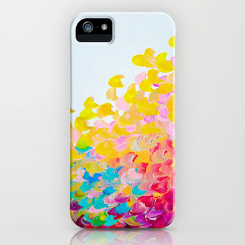 CREATION IN COLOR - Vibrant Bright Bold Colorful Abstract Painting Cheerful Fun Ocean Autumn Waves iPhone & iPod Case by EbiEmporium