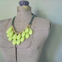 Teardrop Necklace, Stormy Sea Inspired Bib Necklace,  Double Layer Statement Necklace, Lime Green Necklace