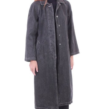 90s Vintage Gray Denim Duster Coat Thick Heavy Black Stone Wash Long Minimalist Hipster Street Style Winter Clothing Womens Size Medium