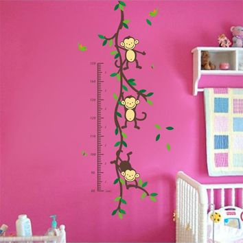 150cm Cartoon tree Monky children baby height growth chart measure wall stickers for kids room nursery decal birthday gift