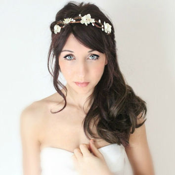 Ivory Flowers Hair Comb, Woodland 'Le Lait', wedding accessory, bridal headpiece,