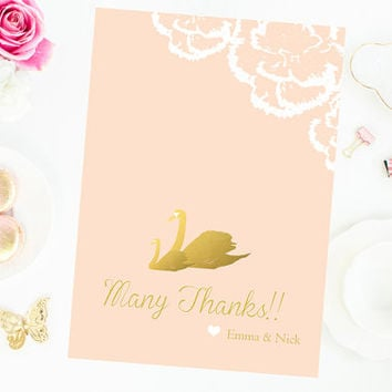 Pink and gold Thank You Card Baby Shower floral flower swan thank you card girl baby shower thank you cards  digital file printable diy