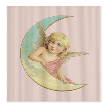 Vintage Victorian Angel Moon Shower Curtain> Coastal, Vintage and Urban Chic Shower Curtains> Rebecca Korpita Coastal Design