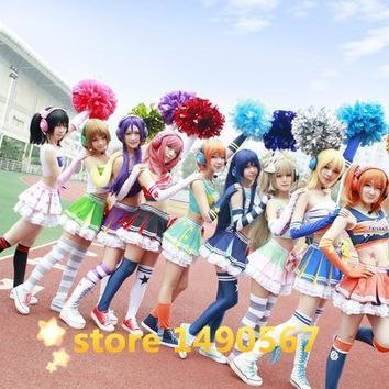 Love Live Honoka Kotori Umi Eli Nozomi Maki Rin Hanayo Nico Cheerleading cos Dress cheer Cosplay Costume Halloween costume