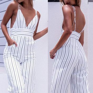 Bellflower Women's Jumpsuit Striped Print Slim Jumpsuit Pants Casual Seven Pants Jumpsuit Female