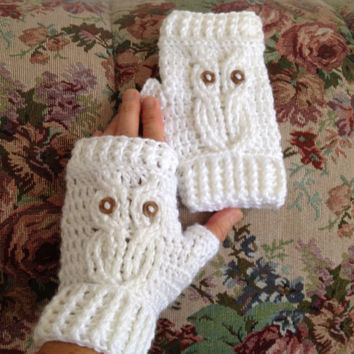 Fingerless gloves, white owl texting mittens