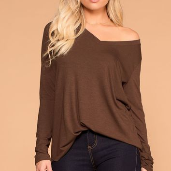Missy Chocolate Long Sleeve V-Neck Top