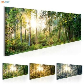 Sunshine and Green Tree Prints Forest Landscape Poster Canvas Painting Natural Wall Art for Living Room Home Decor
