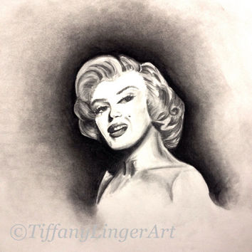 Marilyn Monroe charcoal drawing, black and white, portrait, original art, charcoal portrait, Norma Jeane, charcoal drawing, charcoal art,