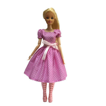 Original For Barbie Pink Wave point pp002 Dress Clothes Party Princess Doll Dress
