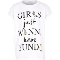 River Island Girls just wanna have funds white t-shirt