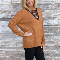 Cherish The Love Cross Neck Sweater ~ Camel ~ Sizes 4-10