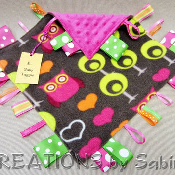 Baby Taggie, Sensory Ribbon Toy, Tag Blanket, Owl Owls Hearts Trees, Pink Brown Lime Green Orange READY TO SHIP 155