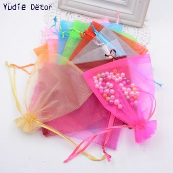 Hot Sale cheap 10pcs/lot Fashion silk Transparent  Square Organza Candy Bag Boxes for  Wedding Favor birthday party Gift Box