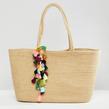Bershka Straw Shopper With Pom Pom Detail at asos.com