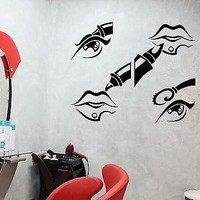 Wall Stickers Beauty Salon Cosmetics Makeup Woman Mural Vinyl Decal Unique Gift (ig1955)