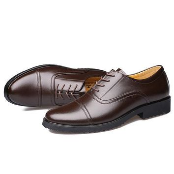 Men Classic Cap Toe Breathable Oxfords Lace Up Dress Shoes