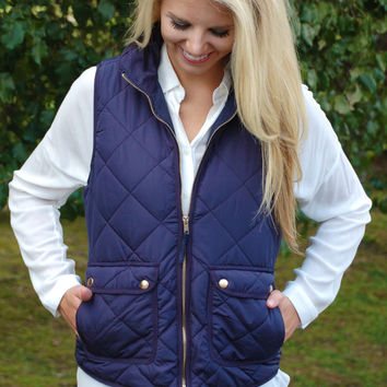 Quilted Equestrian Vest - Navy