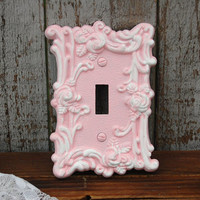 Shabby Chic Switch Cover, Wall Plate, Yellow, White, Ornate, Upcycled, Nursery