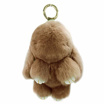 100% Real Genuine Rex Rabbit Furs Keychain Pendant Bag Car Charm Tag Cute Mini Rabbit Toy Doll Real Fur Monster Keychains EH70