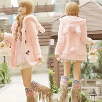 Japanese sweet cartoon rabbit hooded fleece coat