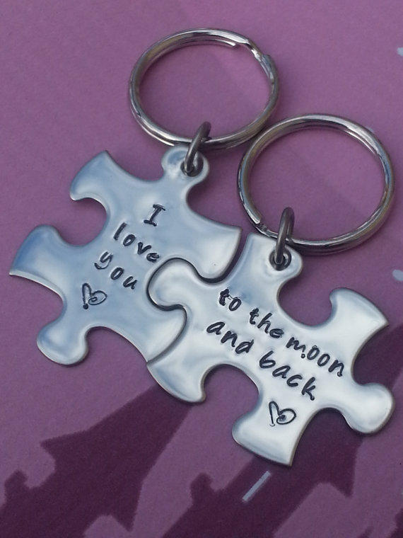 His And Her Puzzle Piece Keychain Set From