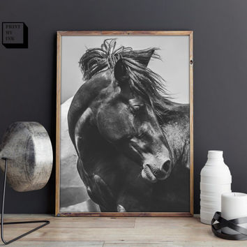 Horse Photo, Horse print, Black and white photography,, Black and white prints, horse printable, horse photo, horse art, Wall art prints
