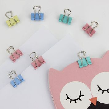 60PCS 15mm Fresh Style Color Metal Binder Clips Notes Letter Paper Books File School Office Stationery Supplies