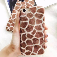 Fur Giraffe Pattern Case for iPhone 7 7Plus & iPhone se 5s 6 6 Plus Best Protection Cover +Gift Box-150