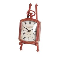 Wilco Imports Unique Red Metal Decorative Clock On An Easel Measures, 3-3/4-Inch by 5-1/4-Inch by 8-