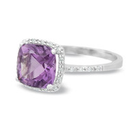 Cushion-Cut Amethyst Ring in 14K White Gold with Diamond Accents - View All Rings - Zales