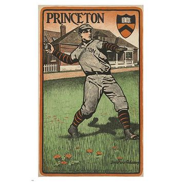 Princeton University VINTAGE BASEBALL SPORTS POSTER 24X36 Pitch Ball PRIZED