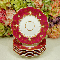 6 Antique English Porcelain Plates ~ Red ~ Maroon ~ Gold