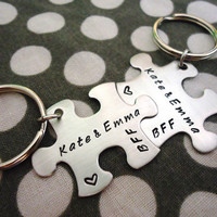 Personalized Puzzle Piece Key Chains with Dates - Best Friends - Hand Stamped Stainless Steel