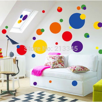 [Saturday Mall] - cartoon creative colorful circle wall stickers removable pvc living room kitchen home decor art decals 6722