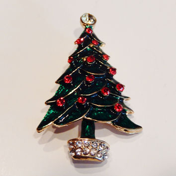Christmas Tree with 18k Gold Plating Pin Brooch