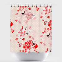 Peach Red Polka Dot Shabby Chic Floral Shower Curtain